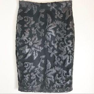 FOREVER21 Eyelet Mesh Pencil Skirt
